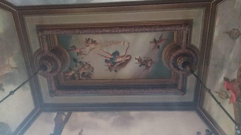 Λεπτομέρεια τοιχογραφιών & οροφής, στην Αίθουσα του μπιλιάρδου.