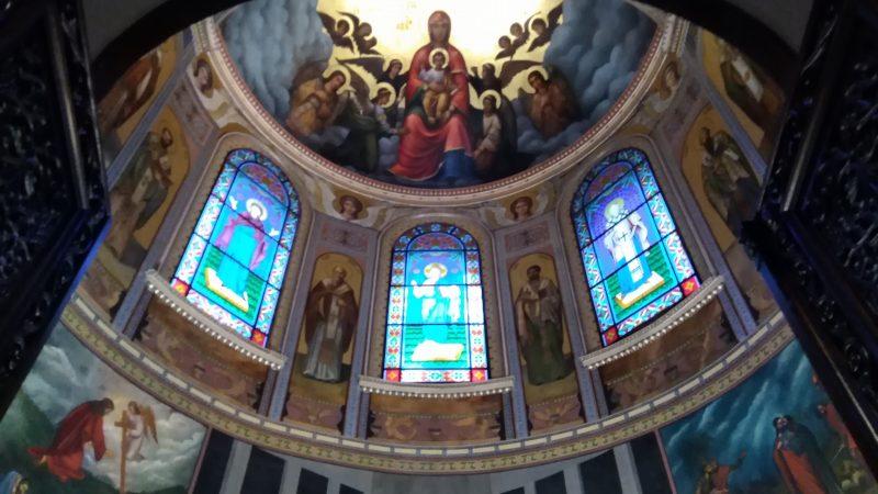 Λεπτομέρεια με τοιχογραφίες από το Ιερό του ναού. Αγία Τράπεζα.