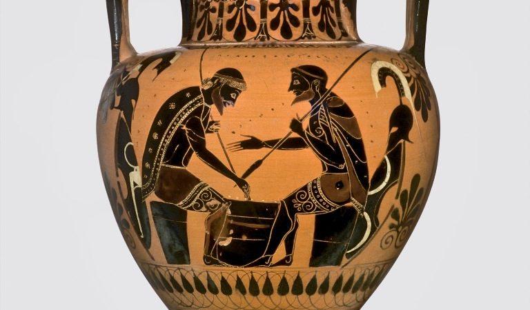 Ο Αίας αντιμετωπίζει τον Αχιλλέα σε επιτραπέζιο παιχνίδι.